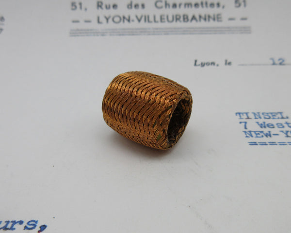 Metallic Thread Woven Barrel Bobbles Asst Colors 2 Pcs