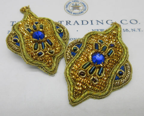 Gold Bullion w/Blue Beads Pair