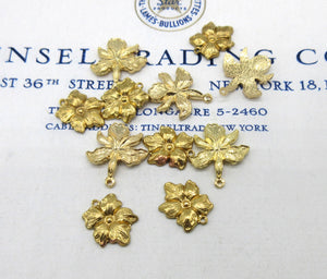 Gold Flower and Orchid Stampings 6 Pcs