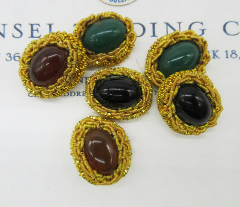 Stone Encased in Gold Bullion Embellishment Pair - SALE