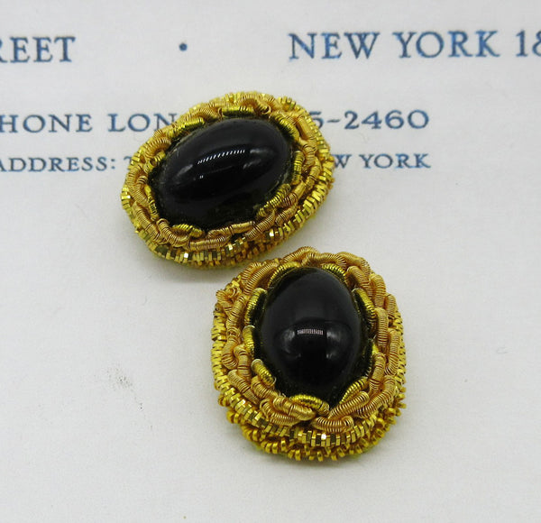 Stone Encased in Gold Bullion Embellishment Pair