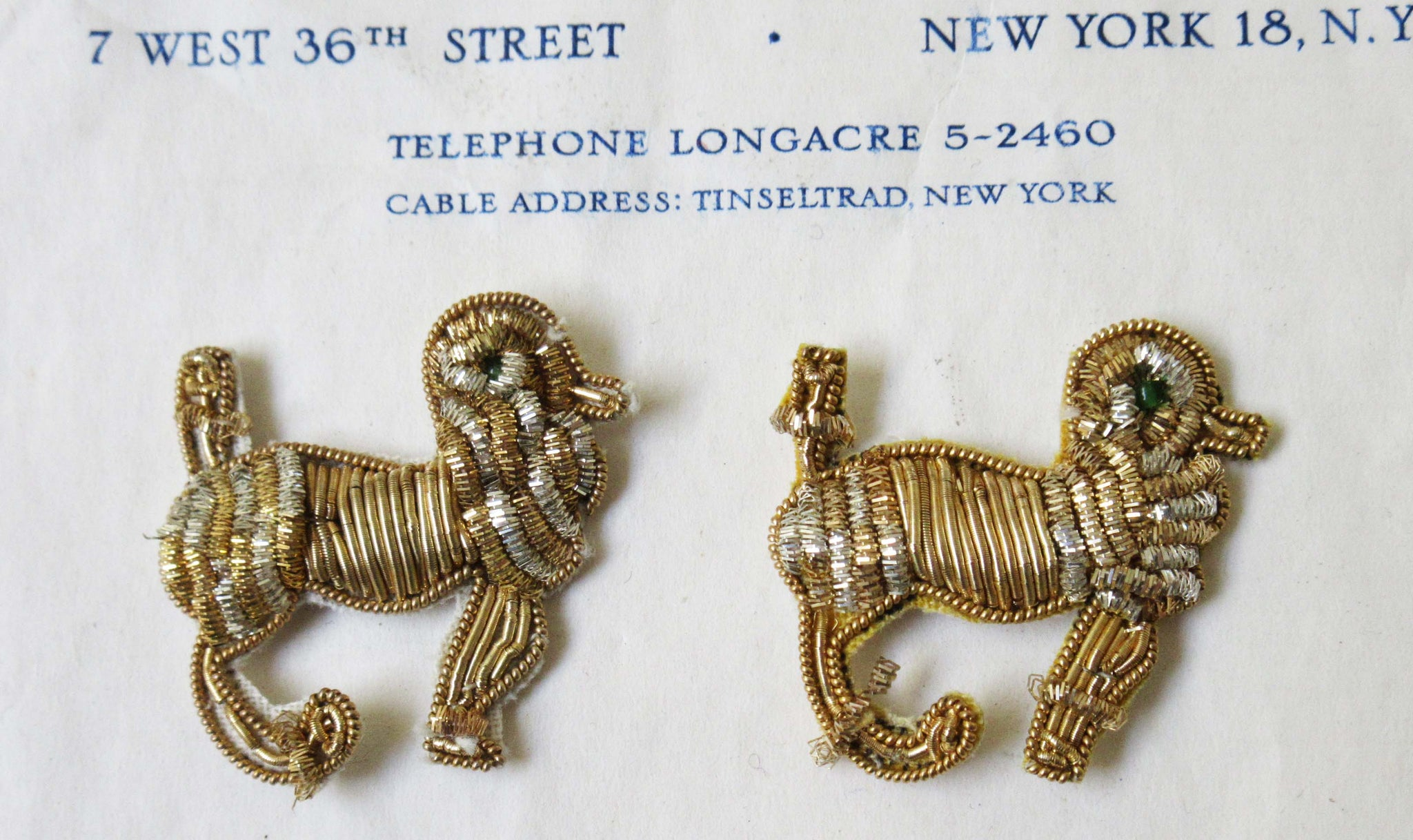 Pair Gold Bullion Poodles