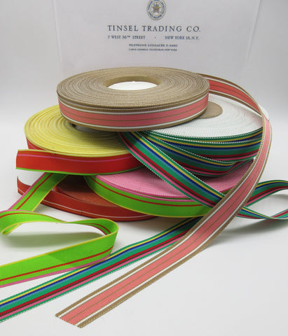 "Multi-color Stripe Grosgrain  5/8"" 3 Yards"