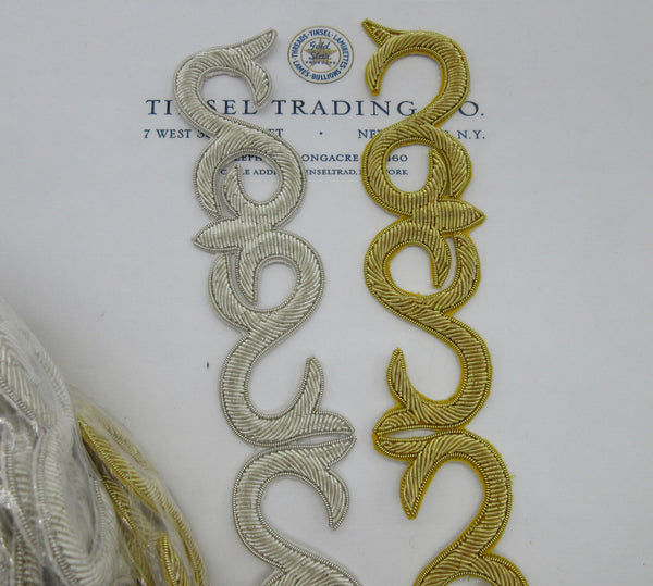 Gold, Silver Metallic Bullion Swirl Trim
