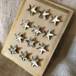 1 Doz Glass Star Mirror Back Buttons On Original Card
