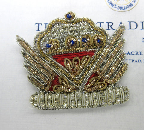 Gold/Red Crown Crest Applique