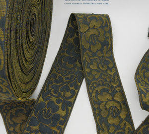 Navy/Gold Floral Metallic Galloon Trim