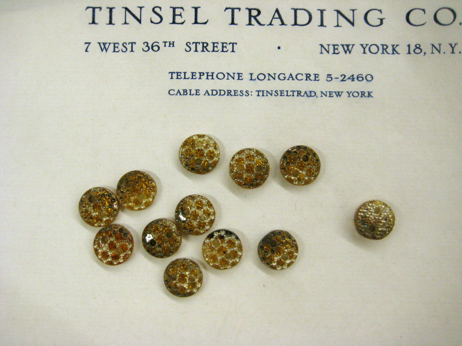 Amber With Silver Star Glass Buttons 1 Doz