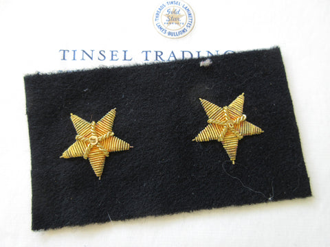 Gold Metallic Bullion Stars on Black Felt Pair