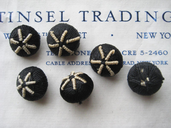 Black/Cream Star Buttons 1 Dozen