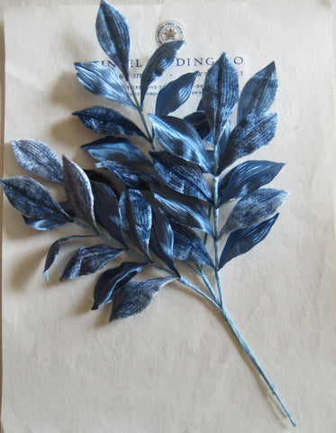 Blue Velvet/Satin Millinery Leaf Spray