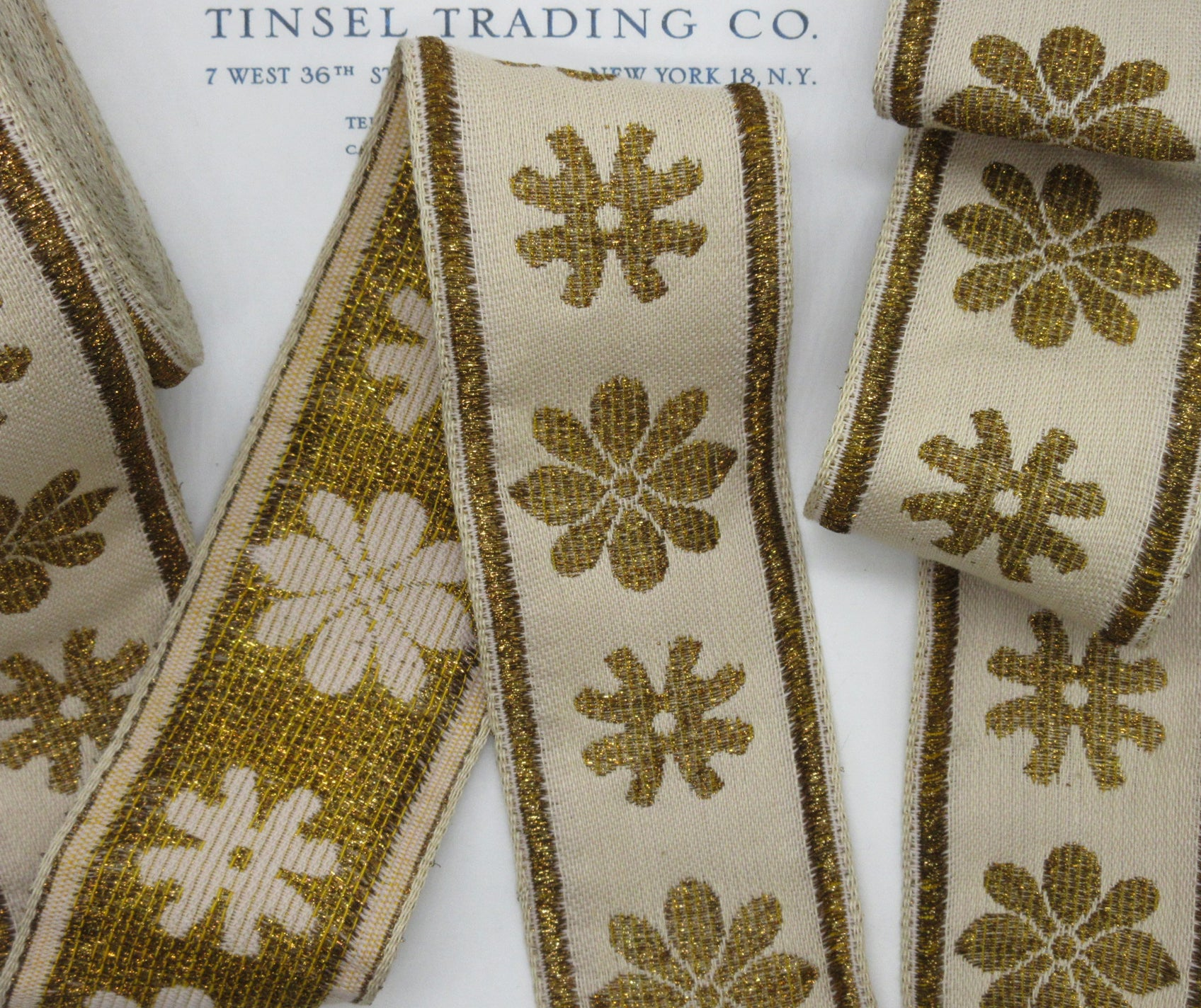 Cream and Gold Metallic Daisy Trim - 2 1/4""