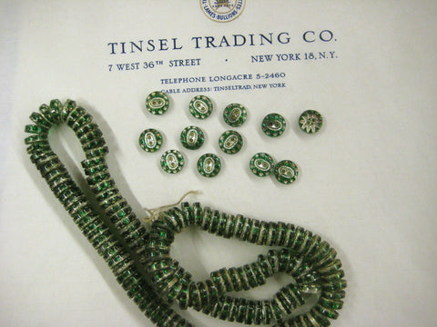 Green With Silver Star Glass Buttons 1 Doz