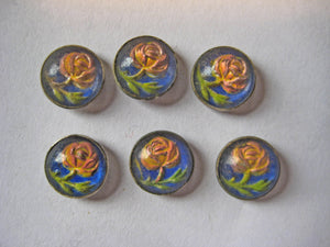 Floral Glass Button 6 pcs