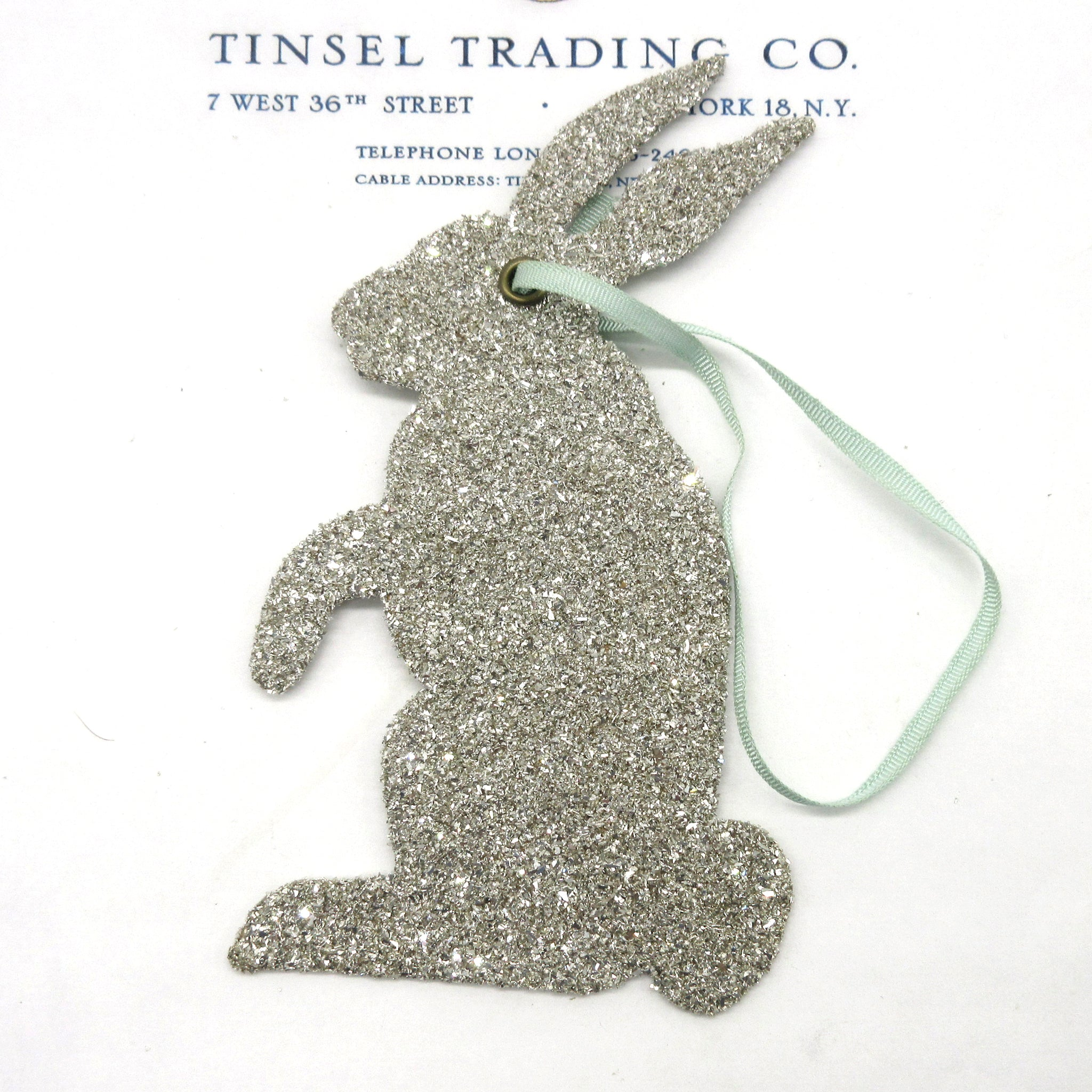"6"" Standing Silver Glitter Bunny"