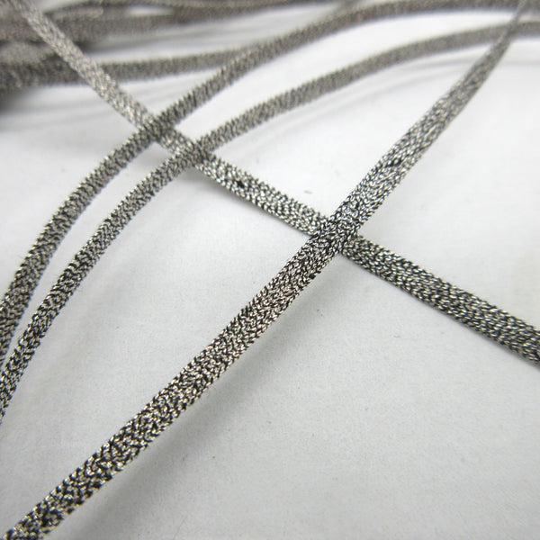 "Dark Silver Metallic Mesh Trim 3/16"" 2 yards"