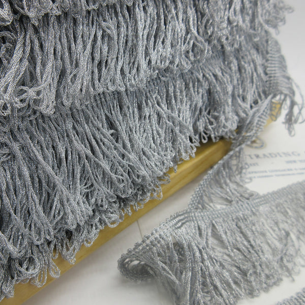 "Silver Metallic Loop Fringe 2"" - SALE"