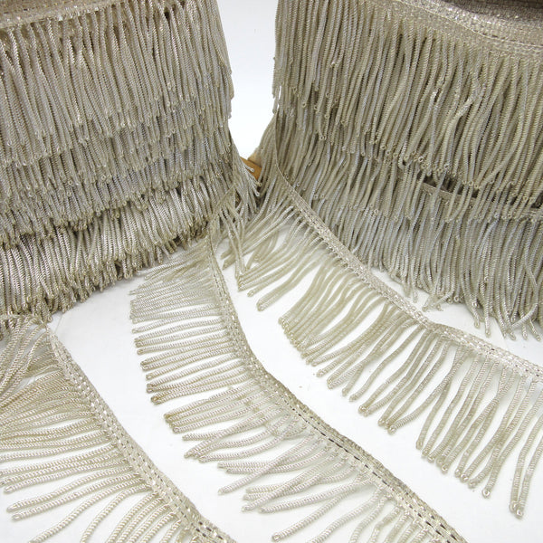 Silver Metallic Bullion Fringe - 2 sizes