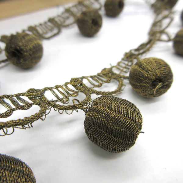 Antique Gold Metallic Ball Fringe