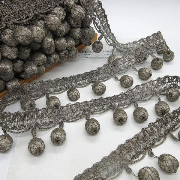 Antique Dark Silver Metallic Netted Ball Fringe