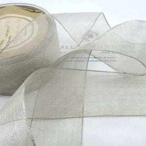 Silver Metallic Sheer Gauze Ribbon 1 5/8""