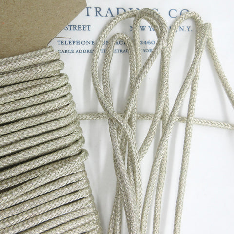 "Silver Woven Braid Design Cord 1/8"" 3 yards"