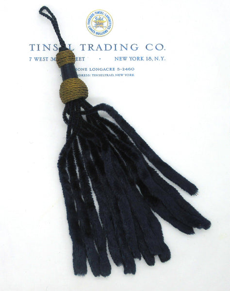 Silk Chenille Navy & Gold Metallic Tassel