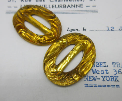 Amber Glass Buckles Pair