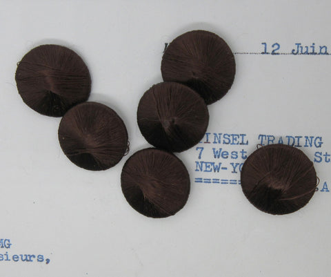 "Brown Silk Button Embellishments - 7/8"" 6 pcs"