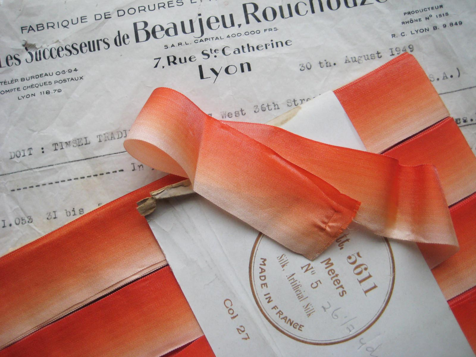 "French Orange Ombre Silk 1"" 1 Yard"