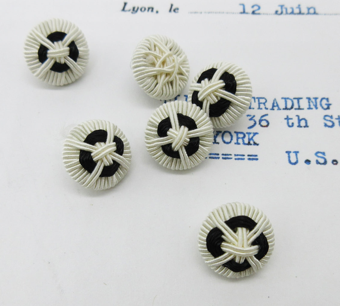 Black and White Woven Buttons  6 Pcs