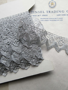 Silver Metallic Scallop Lace Trim 1 1/2""
