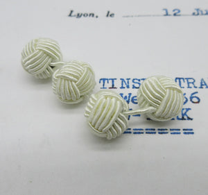 Tiny Braided Knot Balls Bobbles - Cuff Links