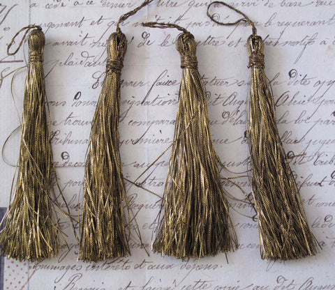 Dark Gold Metallic Thread Tassel 4 Pcs  - SALE