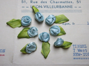 French Satin Blue Rosebuds 8 pcs