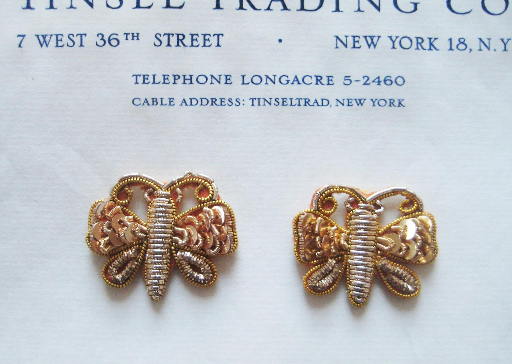 Pair Gold Bullion Butterflies