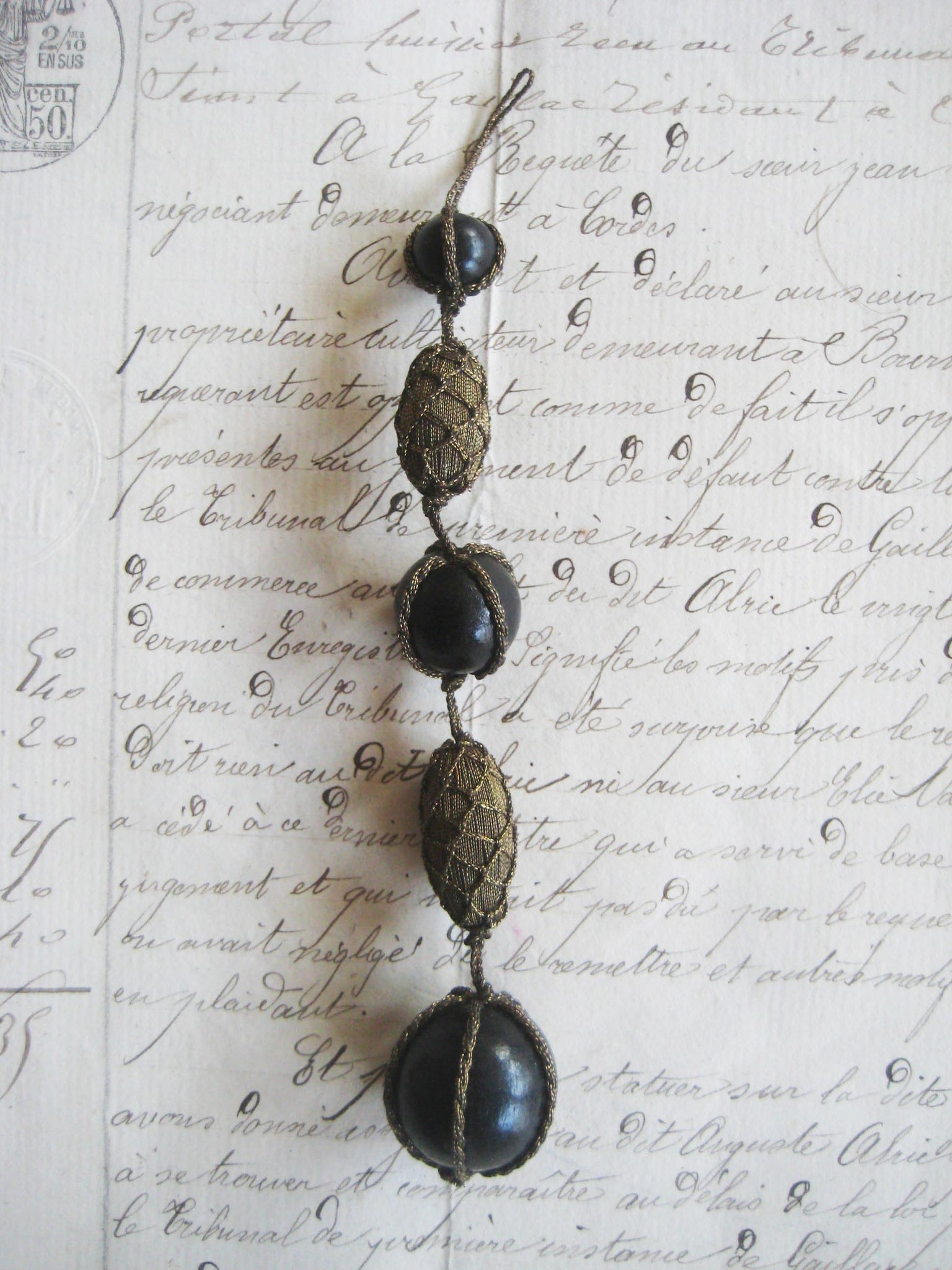 Long Dark Gold Metallic/Black Wood Bead Drop