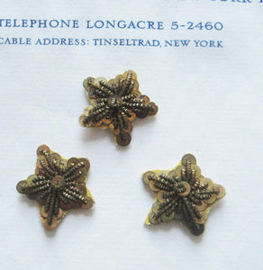 Dark Gold Bullion/Sequin Stars 3 pcs