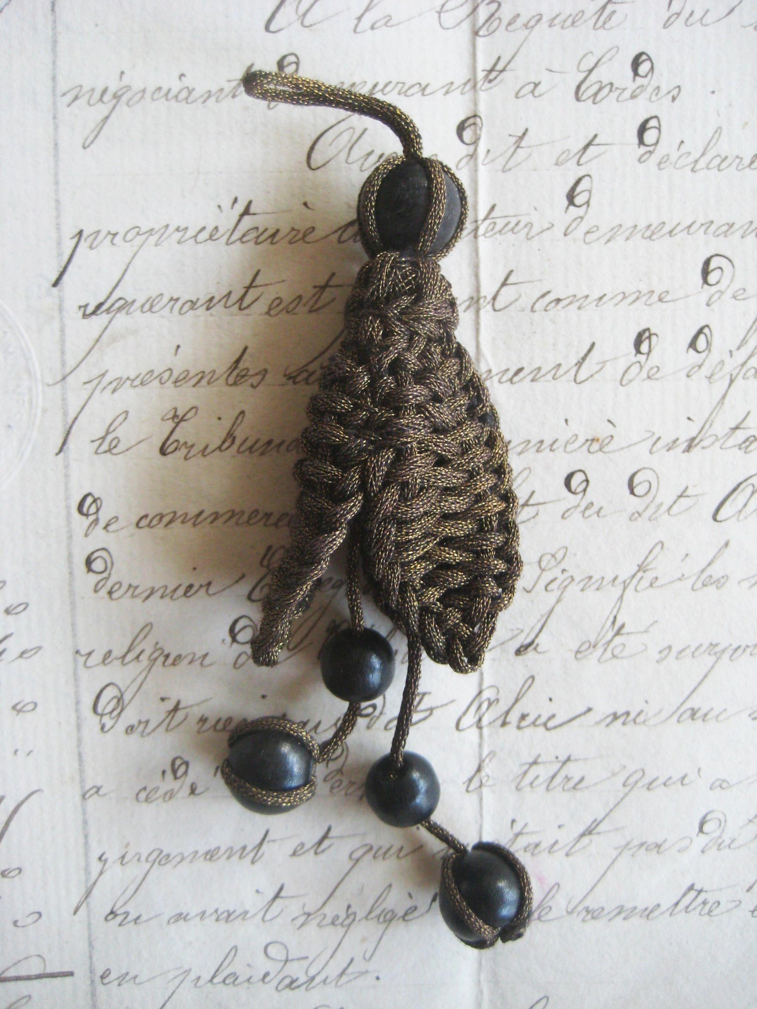 Dark Gold Metallic/Black Wood Bead Bobble