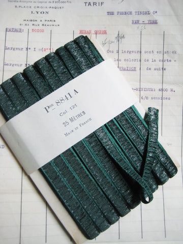 French Green/Silver Metallic Rouched/Pleated