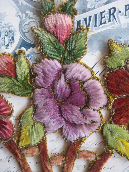 Multi-Color French Chenille Basket of Flowers Applique