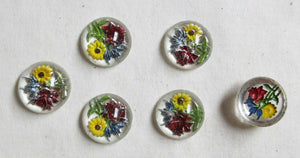 Floral Glass Cabachon 6 pcs