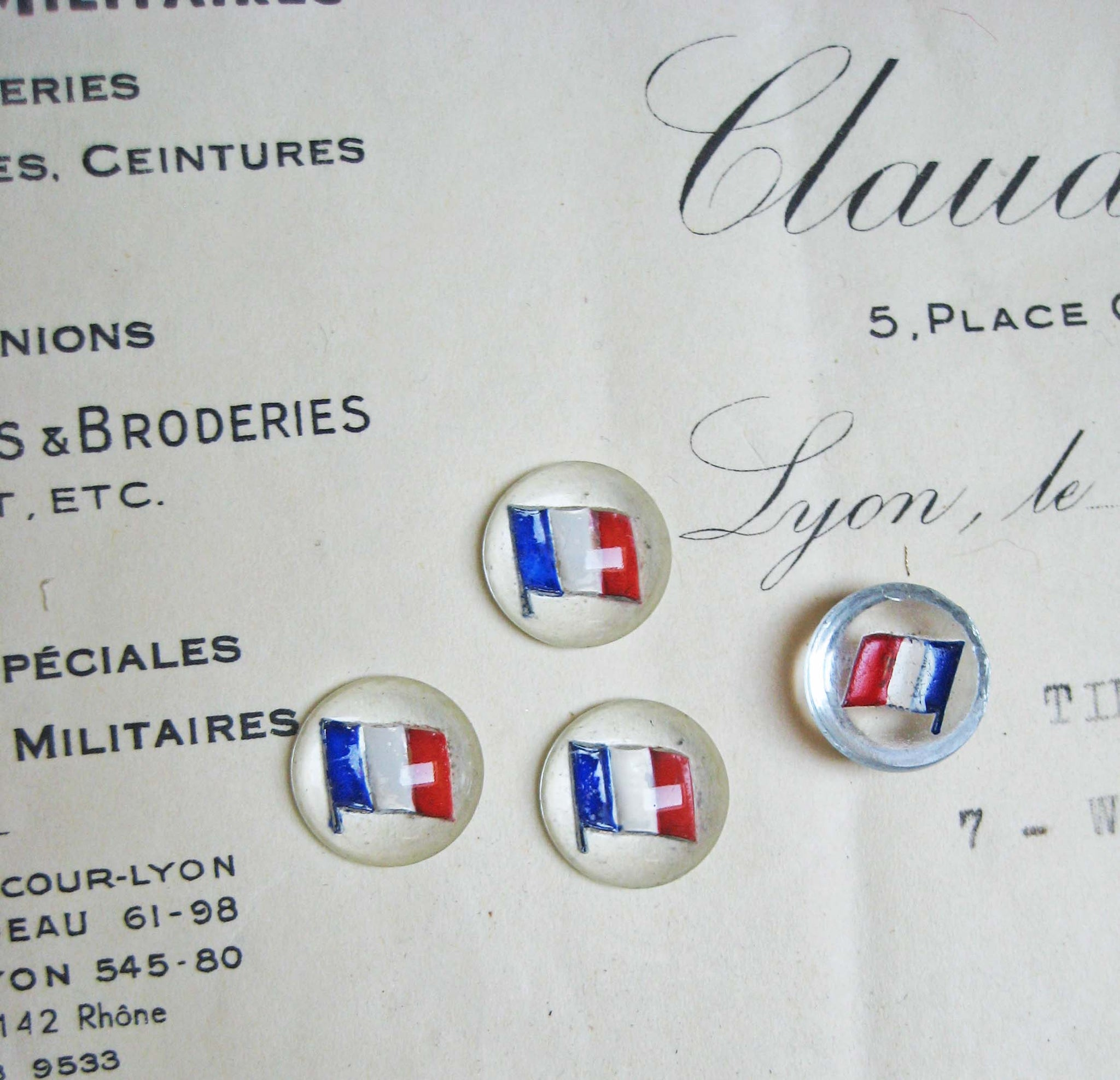French Flag Glass Cabachon 4pcs - SALE