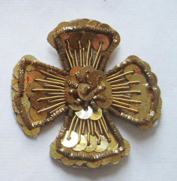 Gold Silver Bullion/Sequin Maltese Cross
