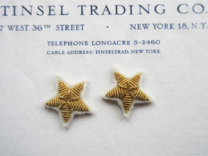 Gold Bullion Stars on White Felt 2 pcs