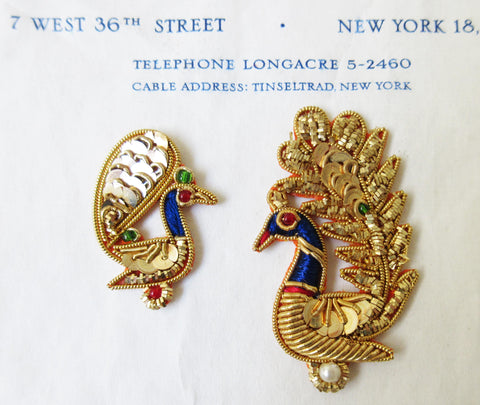 2 Gold Bullion Peacocks Pair