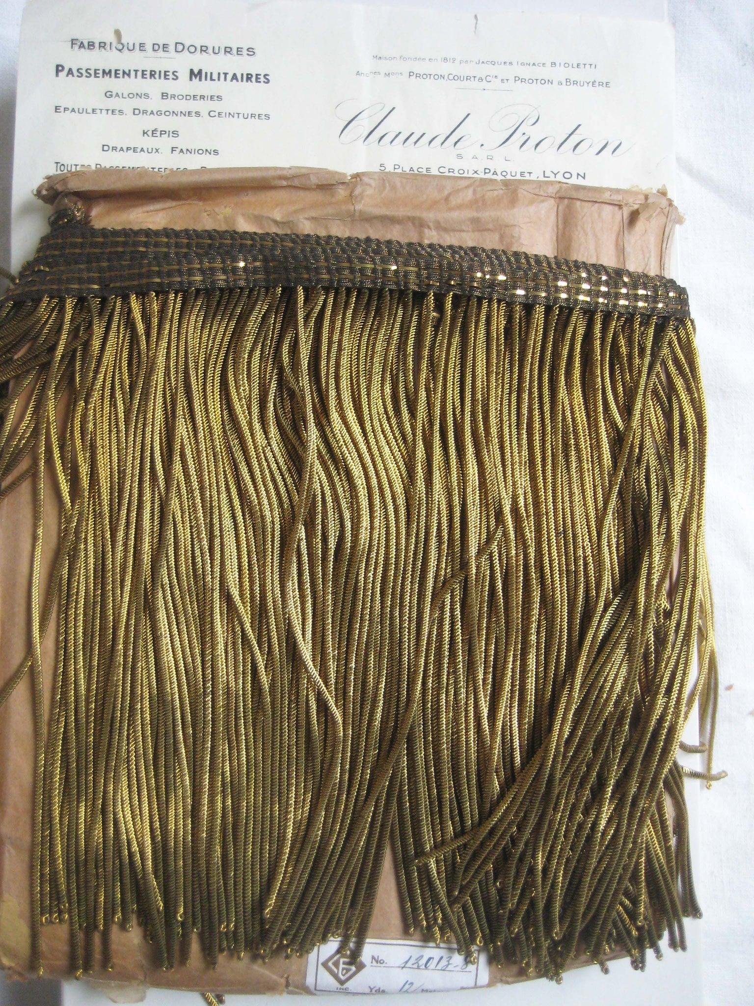 "Dark Gold 8"" Metallic Bullion Fringe"