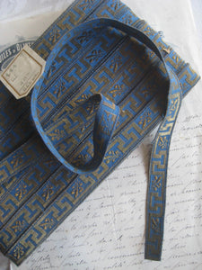 Blue/Gold Metallic Greek Key Galloon Trim