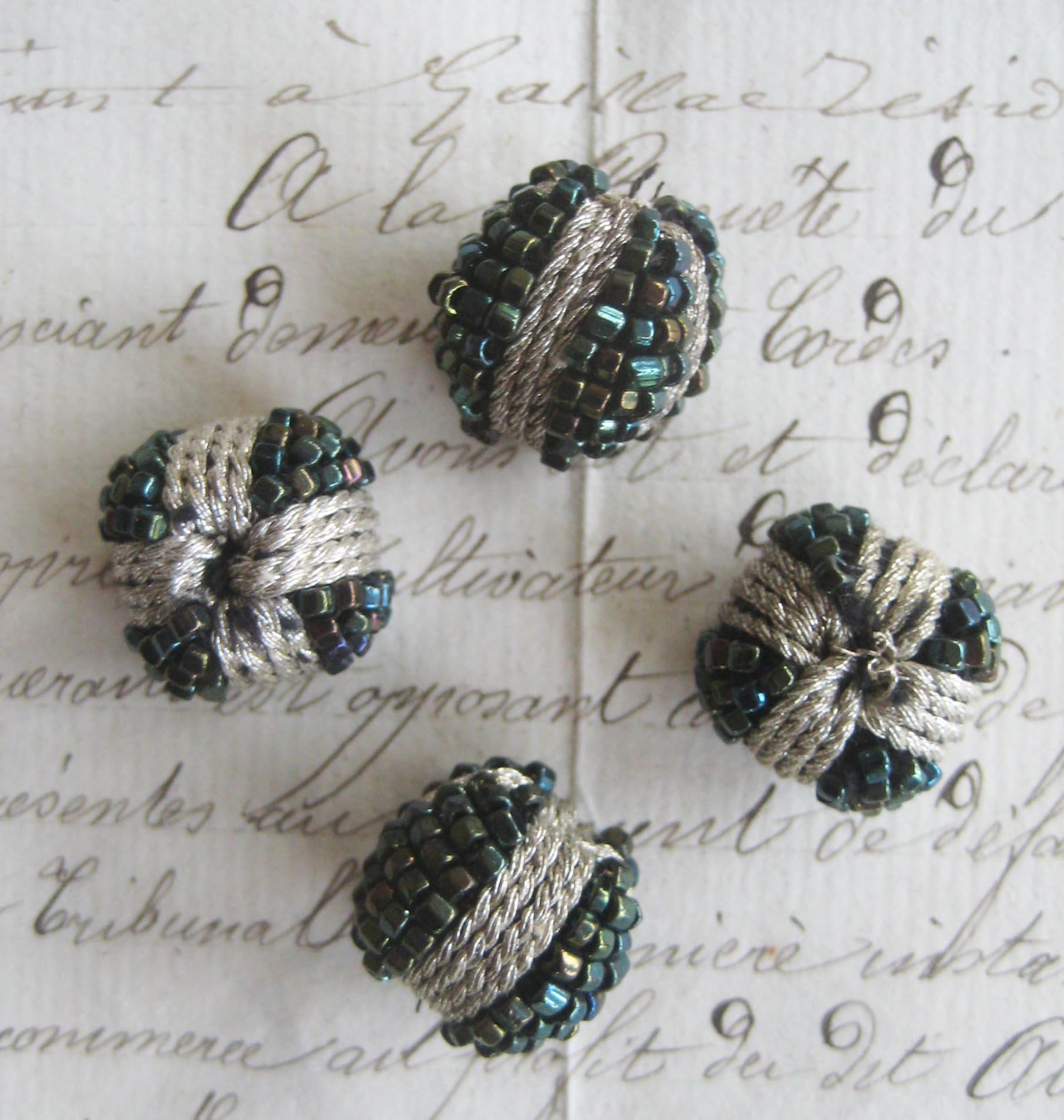 4 Silver Metallic/Green Iris Beaded Ball Bobbles
