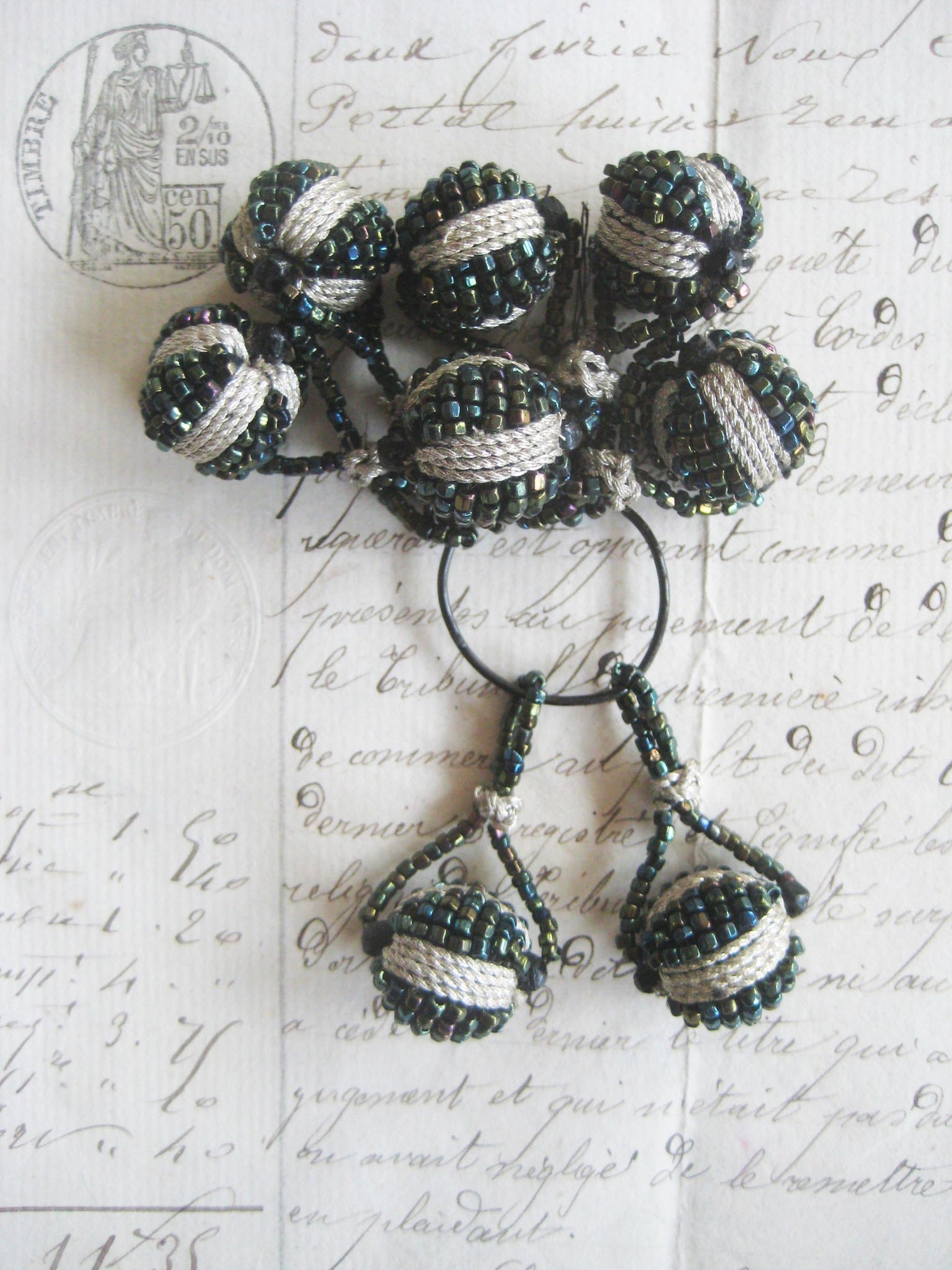 2 Silver Metallic/Green Iris Beaded Ball W/Loop Bobbles